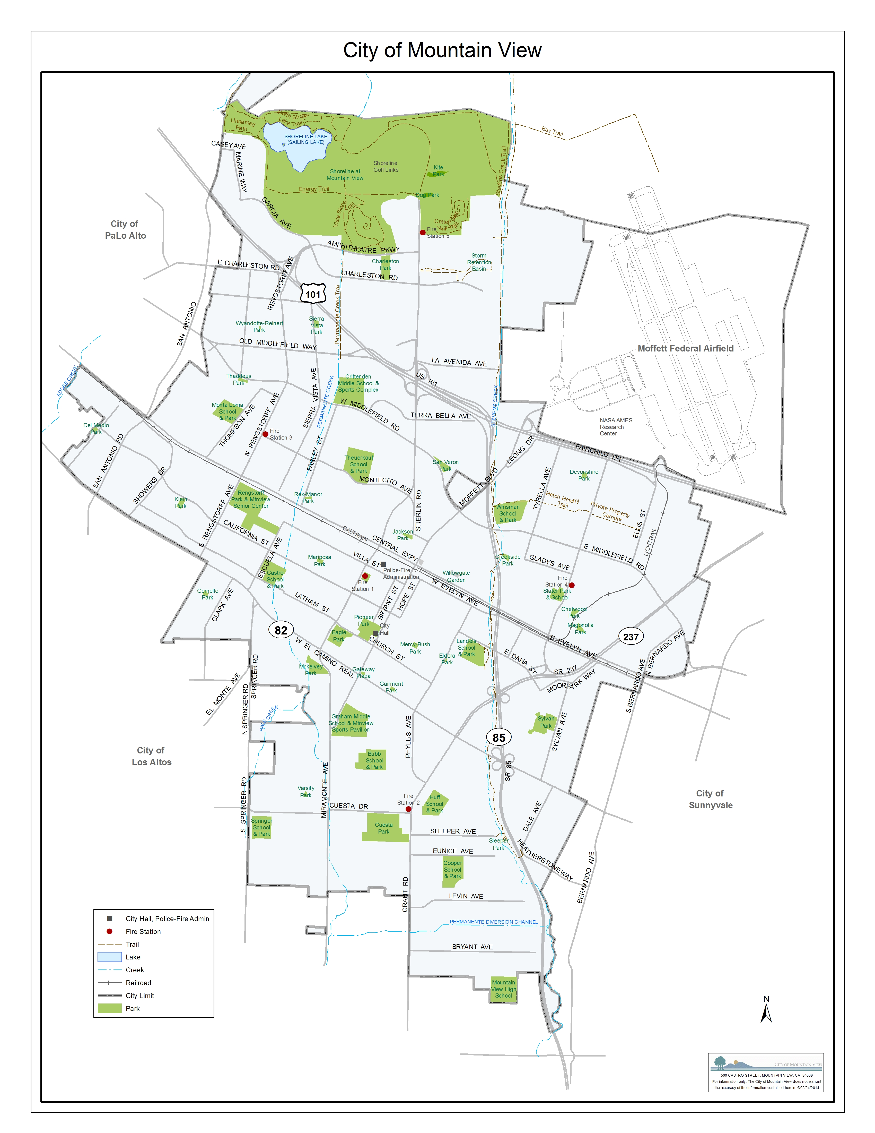 City Of Mountain View City Map - California city maps