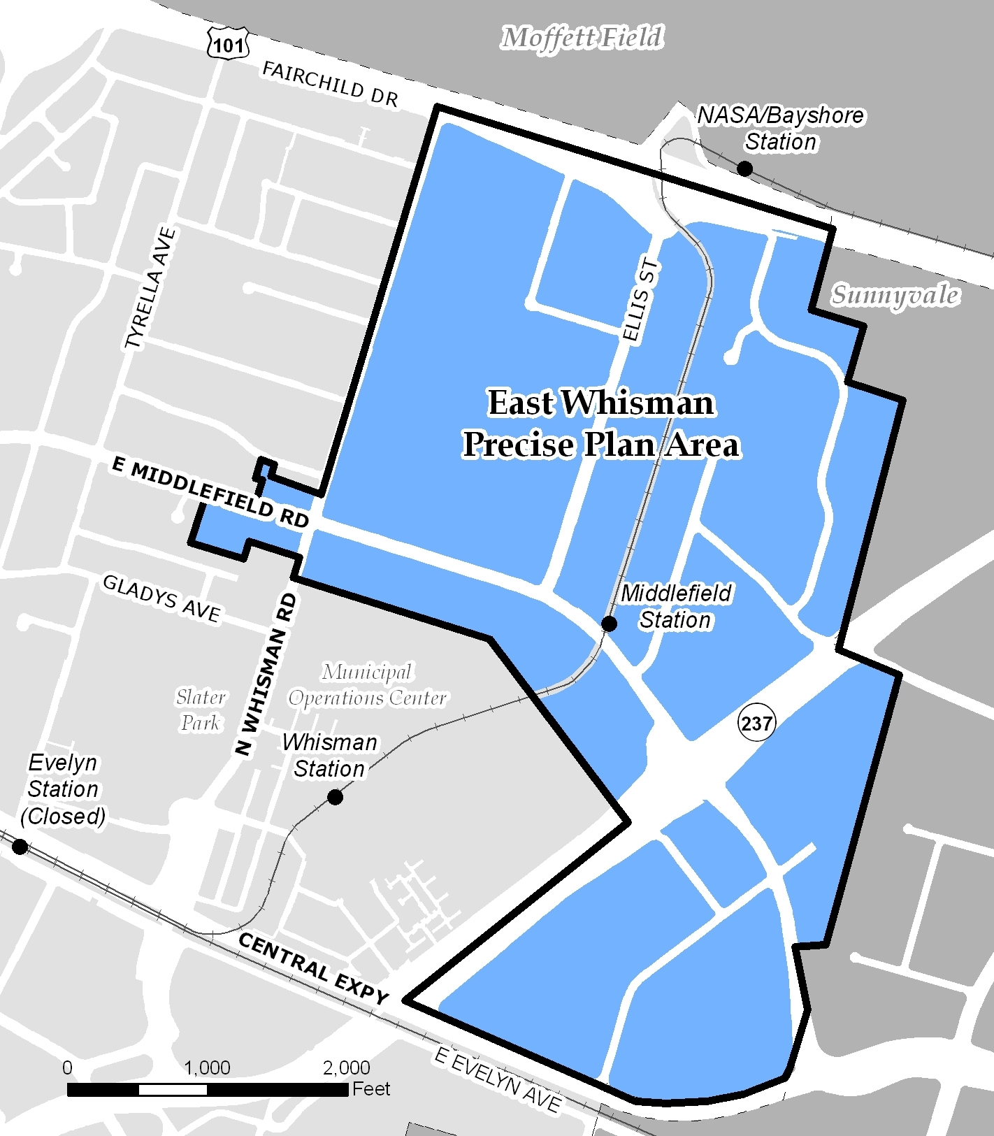 Map of East Whisman area